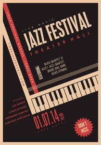 Bilde av en plakat for en jazzfestival. Grafikk med tagenter fra et piano.